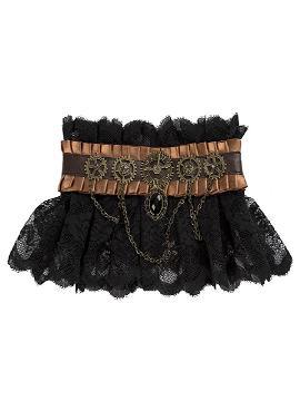 collar steampunk negro con rodamientos