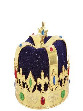 corona rey azul y dorada adulto