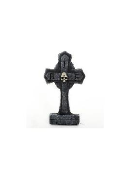 cruz de lapida esqueleto para halloween 32cm