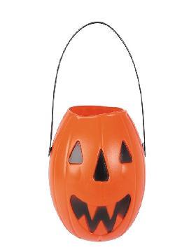 cubo calabaza plastico rigido para halloween