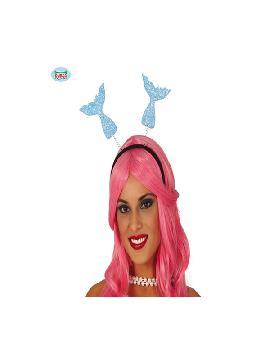 diadema colas de sirena azul con glitter