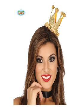 diadema con mini corona dorada mujer