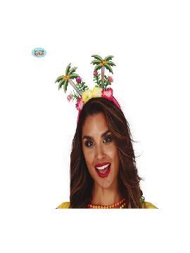 diadema con palmeras y flores