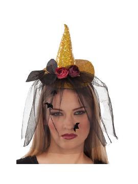 diadema con sombrero bruja dorada