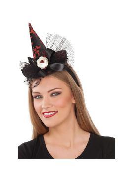 diadema con sombrero bruja lazo