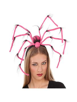 diadema de araña rosa halloween