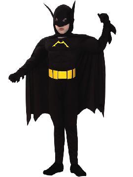 disfraz de batman musculoso negro niño. Es un ideal para que disfruten los niños comodamente jugando a ser superhéroes. Este disfraz es ideal para tus fiestas temáticas de disfraces de superheroes y comic para niños infantiles.