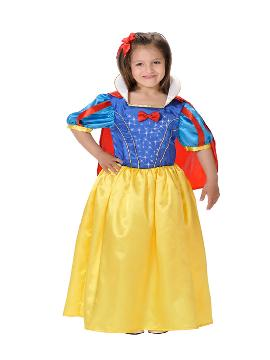 Disfraz de blancanieves con luz para niña. Te sentirás una auténtica princesa disney de tus fiestas de cumpleaños o escolares. Este disfraz es ideal para tus fiestas temáticas de disfraces de princesas y príncipes infantiles. fabricacion nacional
