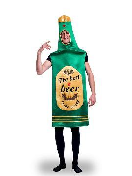 """disfraz de botella cerveza beer adulto. Emborracha a tus amigos en las despedidas de soltero y divierte con este traje de botella de coronita. Incluye una original túnica verde con la etiqueta impresa, con las palabras """"La rubia mas fresca beer"""". Es ideal para tus fiestas temáticas de disfraces de humor y divertidos para hombres adultos"""