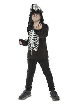 disfraz camiseta de esqueleto casual para niño