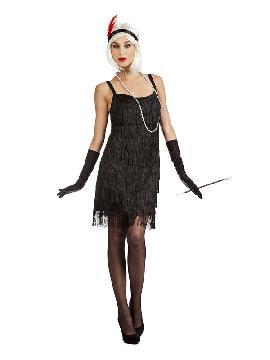 disfraz charlestón flecos negro mujer