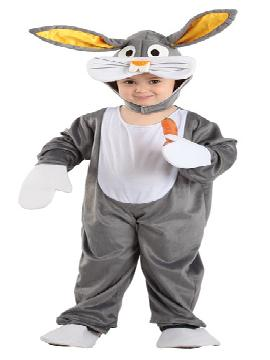 Disfraz conejo Bugs Bunny infantil. Podrás convertir a los más pequeños de la casa en este dulce y tierno animalito del bosque en Carnaval o Fiestas de la Guardería o Cumpleaños.Este disfraz es ideal para tus fiestas temáticas de disfraces de animales para bebes. fabricación nacional.