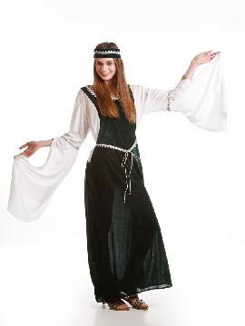 Disfraz de Dama medieval verde.Una línea sencilla y elegante, con mangas anchas que te otorgarán un aire señorial. Este disfraz es ideal para tus fiestas temáticas de disfraces época y medievales para la edad media de mujer adultos.