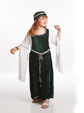 disfraz dama medieval verde para niña varias tallas.Este disfraz de Dama Medieval verde convertirá a tu hija en una auténtica protagonista de la época Medieval.Este disfraz es ideal para tus fiestas temáticas de disfraces de medievales y de epoca niñas.
