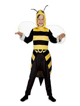 disfraz de abeja para niño. Revolotea en todas tus fiestas con mucha gracia y pica con tu aguijón a todo aquel que no quiera divertirse contigo. Este disfraz es ideal para tus fiestas temáticas de animales infantiles
