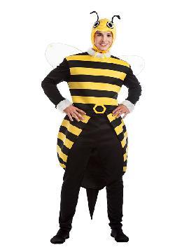 disfraz de abejorro hombre. Serás el abeja más cómico en despedidas, fiestas temáticas o en carnaval. Revolotea en todas tus fiestas con mucha gracia y pica con tu aguijón a todo aquel que no quiera divertirse contigo. Este disfraz es ideal para tus fiestas temáticas de animales adulto.