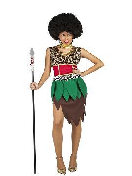 disfraz de africana zulu para mujer. Vete preparando ese ritmo zulu con el que lucirás a la perfección. Únete al resto de la tribu para disfrutar del Carnaval.Este disfraz es ideal para parejas y tus fiestas temáticas de disfraces del mundo,países y regionales mujer adultos