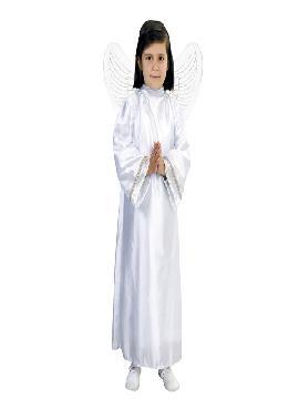 Disfraz de ángel blanco infantil. Este celestial traje de Ángel para niños y niñas resulta perfecto para que los más pequeños representen a angelitos.Este disfraz es ideal para tus fiestas temáticas de disfraces de navidad infantiles.