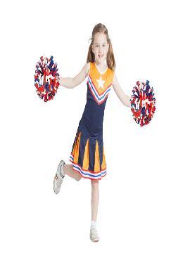 disfraz de animadora azul y naranja niña