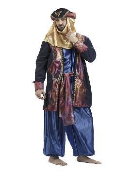 disfraz de arabe azul deluxe hombre. Este traje de arabe es ideal para Carnaval, Ferias Históricas, Eventos Temáticos de Disfraces. Este disfraz es ideal para tus fiestas temáticas de disfraces de guerreros y arabes,cabalgata de reyes o paje hombre. fabricación nacional