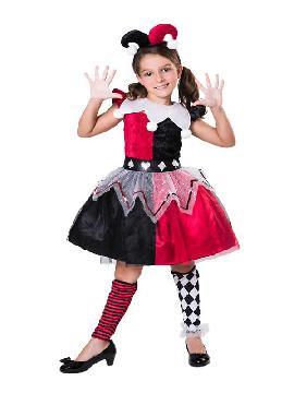 disfraz de arlequina negra y roja niña