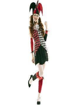 disfraz de arlequina roja para mujer