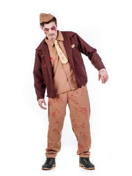 disfraz de aviador zombie hombre. No habrá turbulencia que se te resista en la noche de halloween .Es un disfraz ideal para Fiestas Temáticas, Despedidas de Soltero o Carnavales. Pilotos y uniformes de trabajo, miedo adulto.