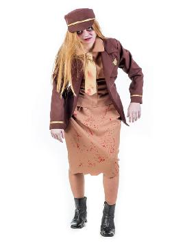 disfraz de aviadora zombie mujer.No habrá turbulencia que se te resista en la noche de halloween .Es un disfraz ideal para Fiestas Temáticas, Despedidas de Soltero o Carnavales. Pilotos y uniformes de trabajo, miedo adulto.