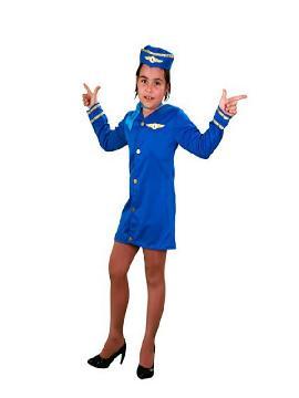 disfraz de azafata azul niña. Te convertirás en una precisa niña de altos vuelos. Con el sorprenderás a todos en las Fiestas de Disfraces, Carnaval o Fiesta Temática. Este disfraz es ideal para tus fiestas temáticas de disfraces de pilotos y azafatas, uniformes de trabajo infantil