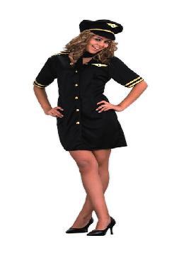 Disfraz de azafata de vuelo para mujer. Te convertirás en una mujer de altos vuelos. Con el sorprenderás a todos en las Fiestas de Disfraces, Despedidas de Soltera, Carnaval o Fiesta Temática.