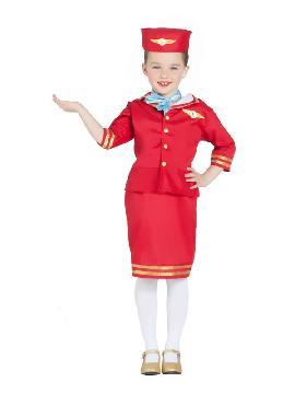 disfraz de azafata de vuelo roja niña