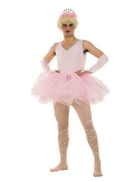 disfraz de bailarina rosa para hombre. Necesitarás papel y boli para firmar autógrafos en la fiesta. Te confundirán con una estrella del Ballet Ruso en las despedidas de soltero. Este disfraz es ideal para tus fiestas temáticas de disfraces de humor y divertidos para adulto.