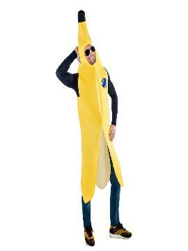 Disfraz de banana para hombre. Con ese original disfraz de Platano de Canarias para adulto serás la fruta más divertida en tus fiestas temáticas. Este disfraz es ideal para tus fiestas temáticas de disfraces de dulces,frutas y hortalizas y humor para hombres adultos.