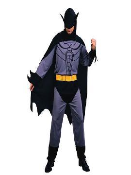 disfraz de batman murcielago para hombre. Con este original traje de murcielago sera en superheroe y podrás recorrer las calles de la ciudad en busca y captura de villanos.Este disfraz es ideal para tus fiestas temáticas de disfraces superheroes y comic para hombres adultos.