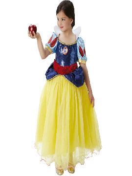 disfraz de blancanieves lujor niña infantil. Te sentirás una auténtica princesa disney de tus fiestas de cumpleaños o escolares.Este disfraz es ideal para tus fiestas temáticas de disfraces de princesas y principes para niñas.
