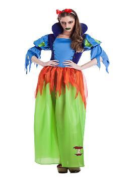 disfraz de blancanieves poseida mujer. Ten cuidado con las manzanas envenenadas y sé muy feliz con este traje de princesa blancanieves para halloween. Este disfraz es ideal para tus fiestas temáticas de disfraces cuentos populares,famosos y musicos y princesas para adultos