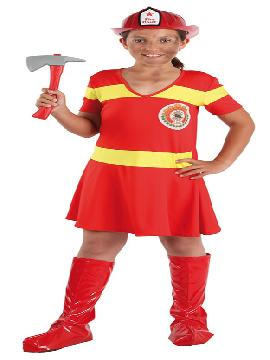 Disfraz de bombera para niña. Este comodísimo traje rojo con cintas fluorescentes es perfecto para carnavales, espectáculos, cumpleaños y también para las fiesta de los colegios. Este disfraz es ideal para tus fiestas temáticas de disfraces de uniformes de trabajo infantiles. fabricacion nacional.