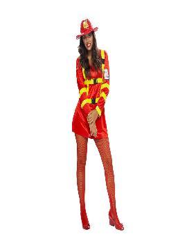 disfraz de bombera roja sexy mujer