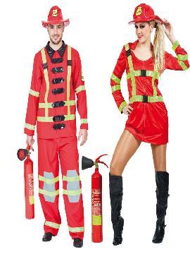 disfraz de pareja bomberos para hombre y mujer