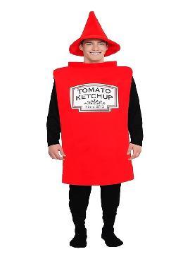 disfraz de bote de kepchup para adulto