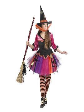 disfraz de bruja colorida deluxe mujer