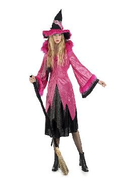 disfraz de bruja deluxe rosa mujer. Éste traje de Halloween es ideal para celebrar la Fiesta de la Noche de las Brujas cada vez más arraigada en nuestro País en Pubs. Este disfraz es ideal para tus fiestas temáticas de disfraces de miedo y brujas para adultos. Fabricación nacional