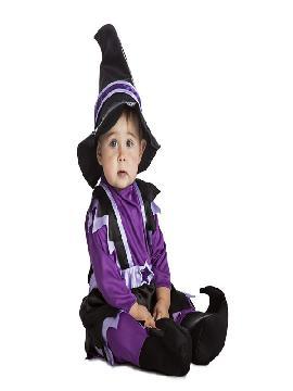 disfraz de bruja lila bebe, las niñas podrán ser la brujas más guapa a la vez que malvada de toda la fiesta de halloween, en la guardería o en carnaval. Ten cuidado porque te hechizará con su dulzura. Este disfraz es ideal para tus fiestas temáticas de disfraces de bruja y miedo infantil