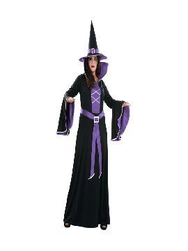 Disfraz de bruja morada para mujer. Podrás ser la bruja más guapa a la vez que malvada de toda la fiesta de halloween. Ten cuidado porque te hechizará con su dulzura. Este disfraz es ideal para tus fiestas temáticas de brujas y miedo para adulto