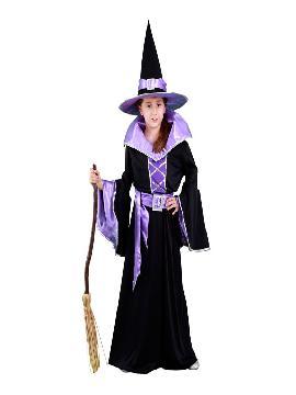 disfraz de bruja morada niña