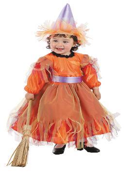 Disfraz de bruja naranja para bebé. Tu hija podrá ser la bruja más guapa a la vez que malvada de toda la fiesta de halloween, en la guardería o en Carnaval. Ten cuidado porque te hechizará con su dulzura.Este disfraz es ideal para tus fiestas temáticas de disfraces de bruja y miedo para niñas infantiles.