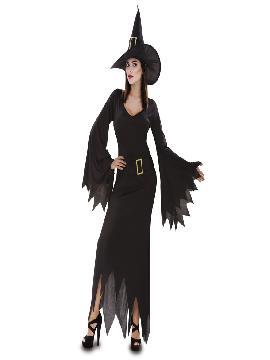 Disfraz de bruja negra para mujer. Podrá ser la bruja más guapa a la vez que malvada de toda la fiesta de halloween. Ten cuidado porque te hechizará con su dulzura. Este disfraz es ideal para tus fiestas temáticas de brujas y miedo para adultos.