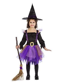 disfraz de bruja tutu para niña. Éste traje de Halloween es ideal para celebrar la Fiesta de la Noche de las Brujas cada vez más arraigada en nuestro País. Este disfraz es ideal para tus fiestas temáticas de disfraces de miedo y brujas o brujos para infantiles.