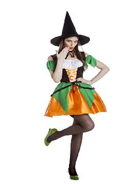 disfraz de bruja verde y naranja mujer