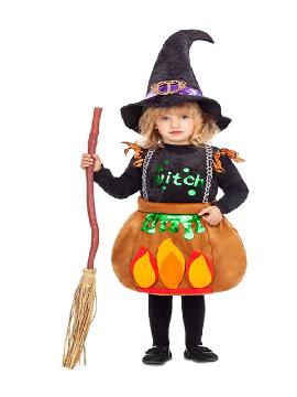 disfraz de brujita caldero para niña